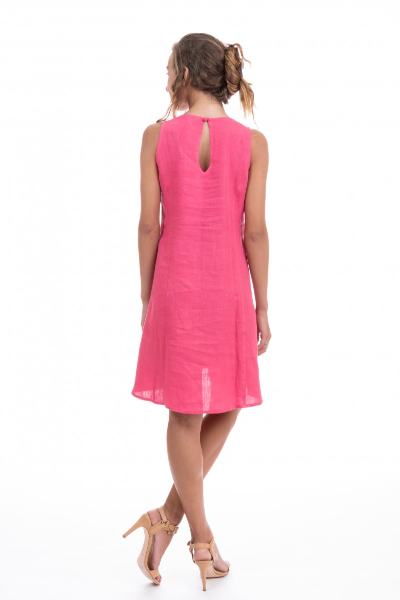 Amalie Hot Pink Dress Back