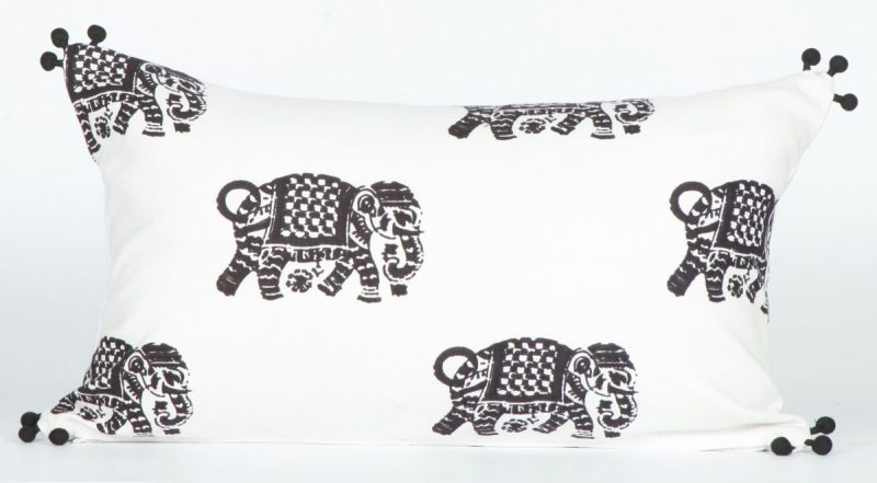 Elephant Walk Charcoal 12 X 20 Deco Pillow with Pompoms