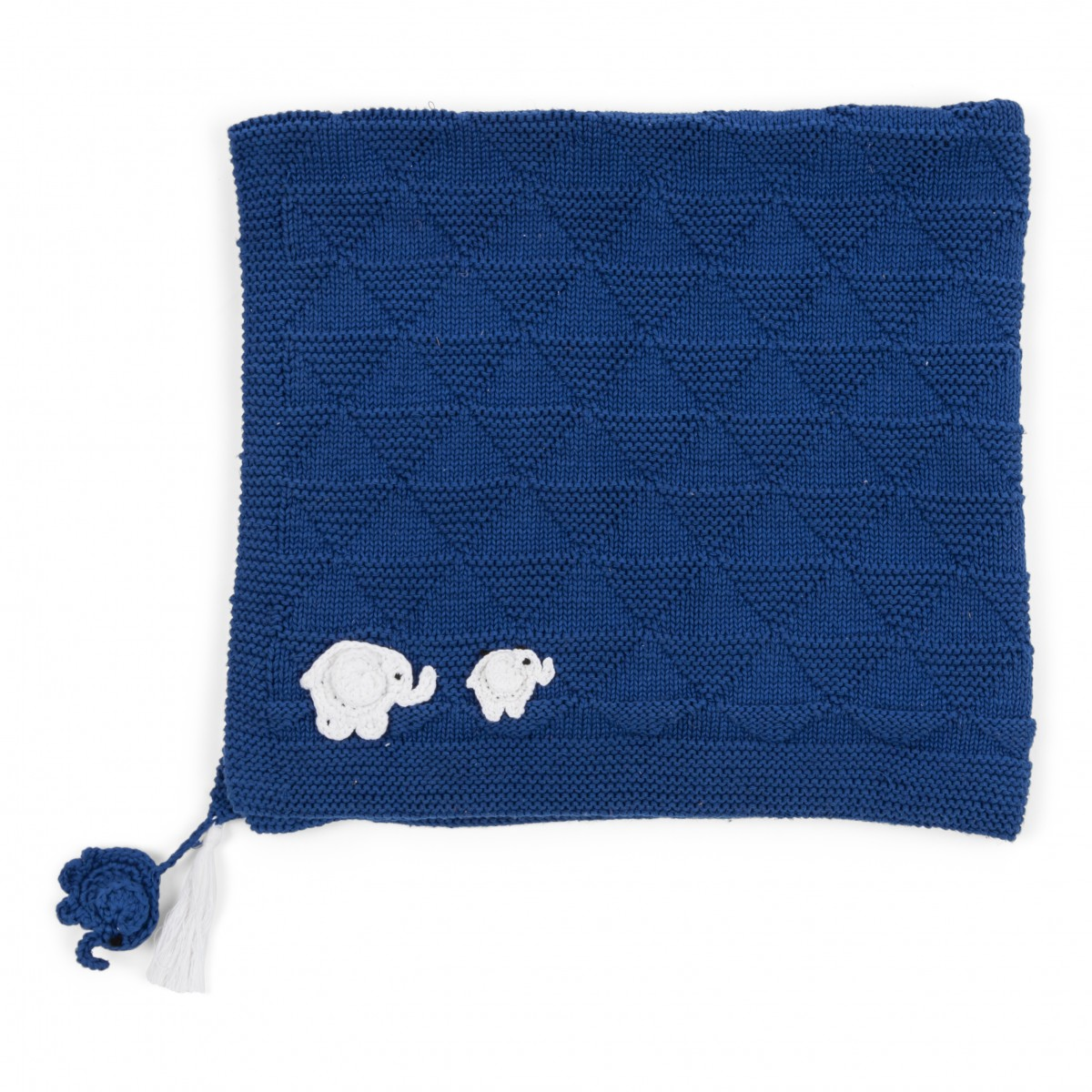 Blue And White Hand Knitted Baby Blanket W  Hand Knitted Baby Hat ... 7c99140cc3f