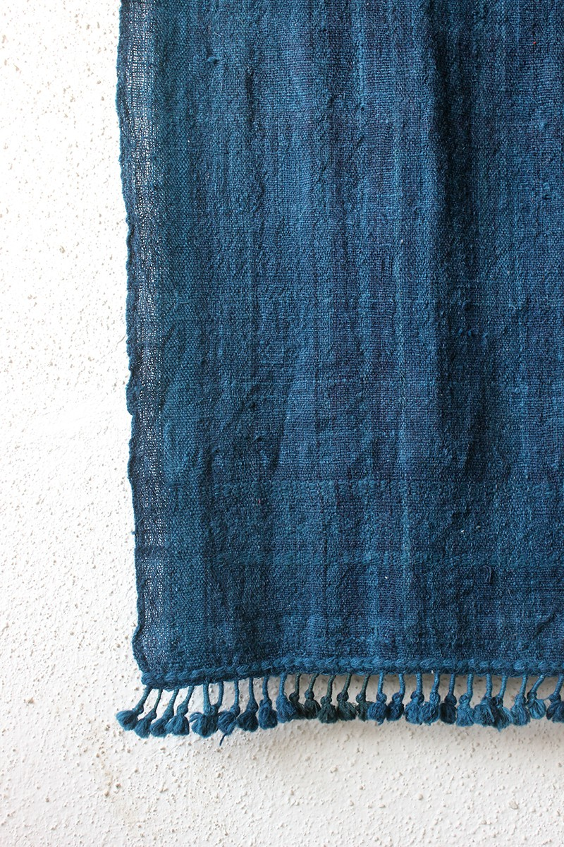 Indigo with Indigo Pompom Border